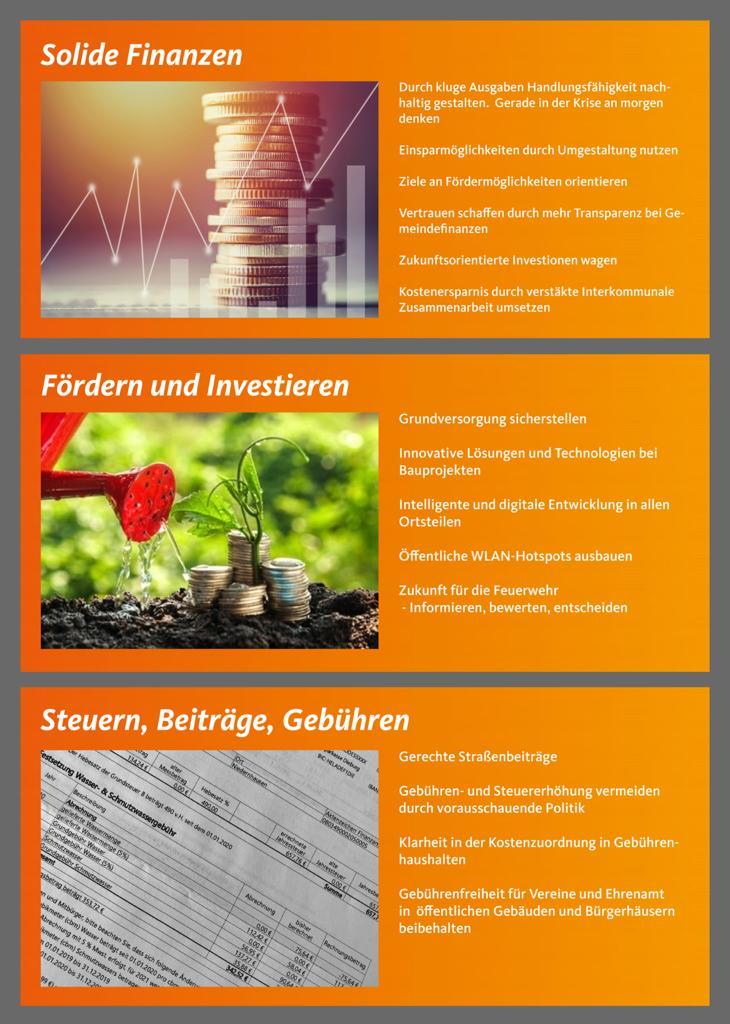 Themen: Solide Finanzen; Fördern und Investieren; Steuern, Beiträge, Gebühren