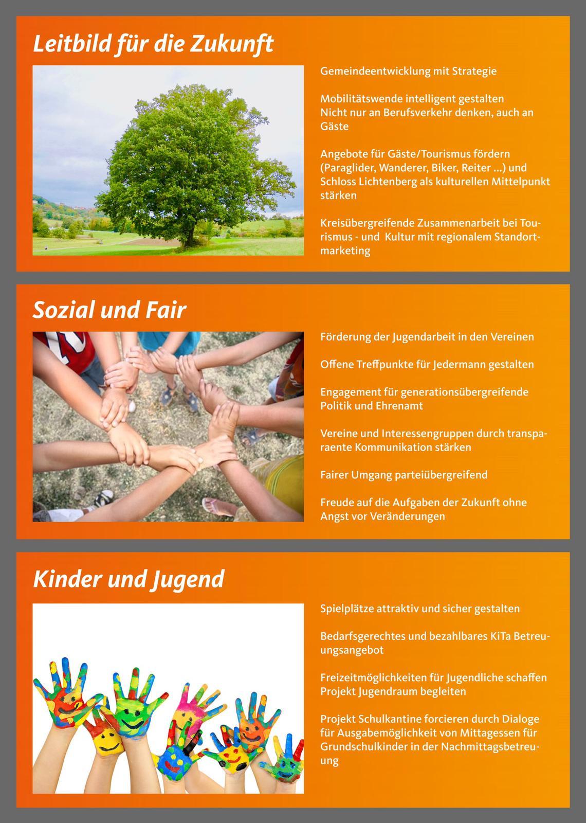 Themen: Leitbild für die Zukunft, Sozial und Fair, Kinder und Jugend